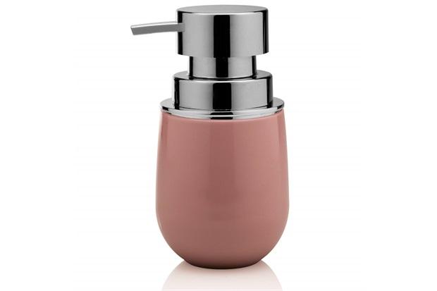 Porta Sabonete Líquido New Belly Cromo 8,5x15,7cm Rosa Quartz - Martiplast