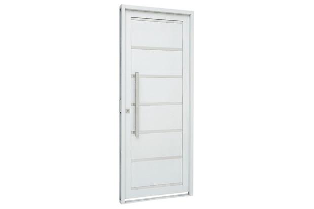 Porta Social Direita com Friso E Lambri Horizontal Prátika 217x98cm Branca - Sasazaki