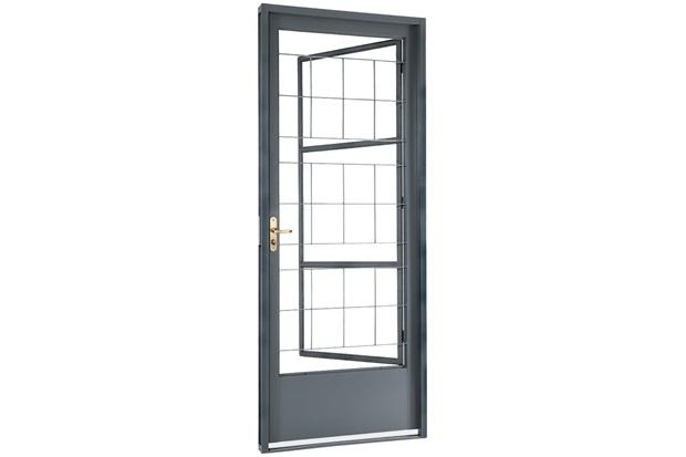 Porta Social Direita com Postigo E Grade Quadriculada Belfort 217x87x8cm Cinza - Sasazaki