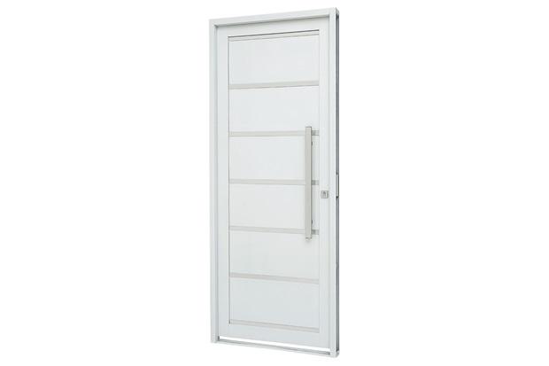 Porta Social Esquerda com Friso E Lambri Horizontal Prátika 217x88cm Branca - Sasazaki