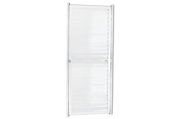 Porta Veneziana Esquerda em Alumínio Linha 25 180x102cm Branca - Brimak
