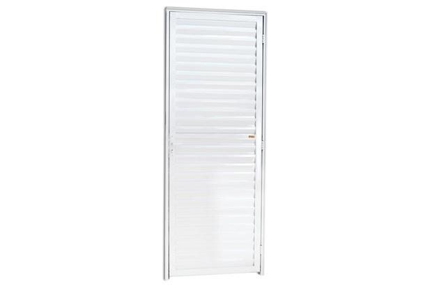 Porta Veneziana Esquerda em Alumínio Linha 25 210x60cm Branca - Brimak