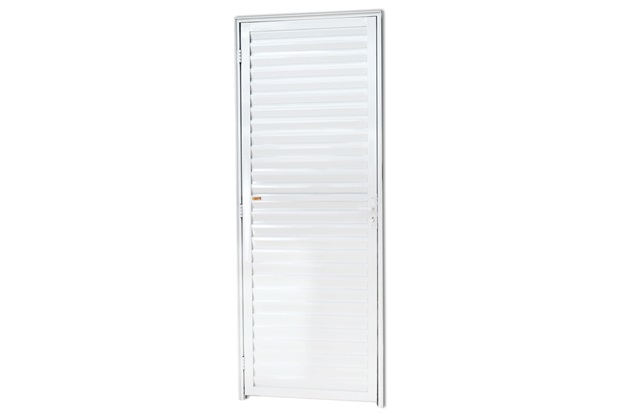 Porta Veneziana Fechada em Alumínio Direita L-25 210x80cm Branca - Brimak