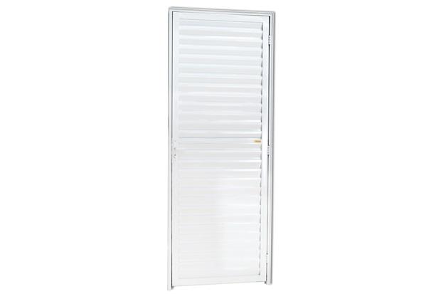 Porta Veneziana Fechada em Alumínio Esquerda L-25 210x80cm Branca - Brimak