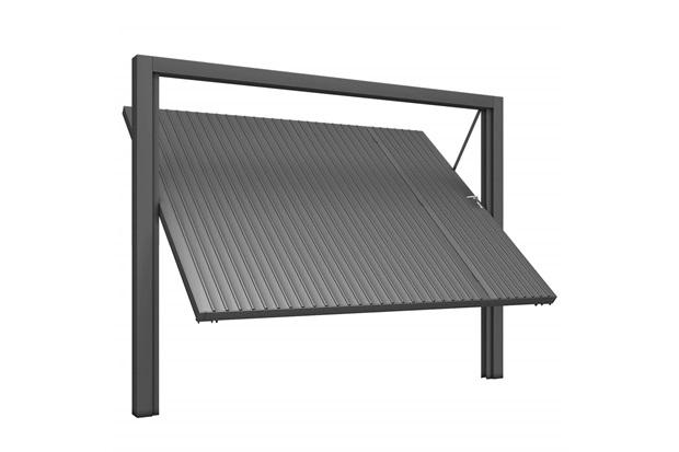 Portão Social E Basculante Esquerdo com Chapa Frisada 220x285cm Cinza - Mecal