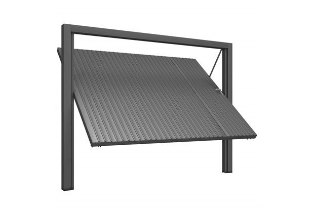 Portão Social E Basculante Esquerdo com Chapa Frisada 220x303cm Cinza - Mecal