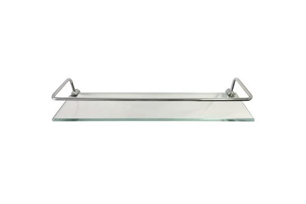Prateleira em Vidro com Haste Cromada 40x10cm Transparente - Rack System