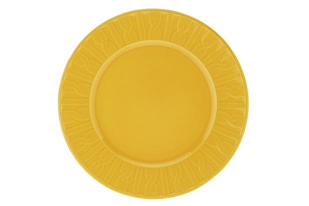 Prato de Sobremesa em Cerâmica 22cm Amarelo  - Casanova