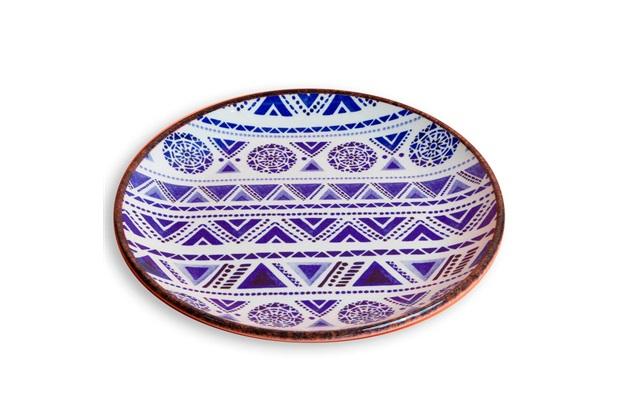 Prato de Sobremesa em Cerâmica Navajo 21cm Azul - Casa Etna