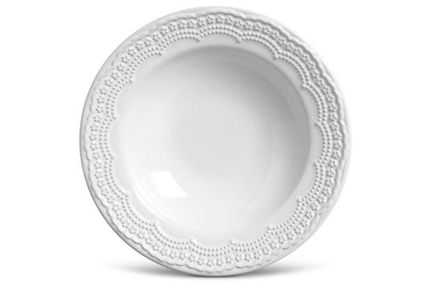 Prato em Cerâmica Fundo Madeleine 22cm Branco - Casa Etna