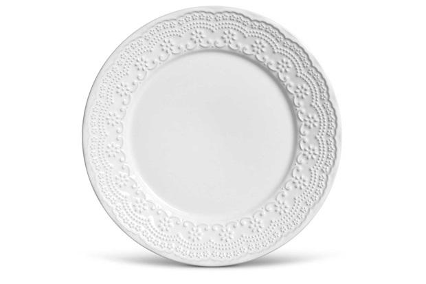 Prato em Cerâmica Raso Madeleine 26cm Branco - Casa Etna