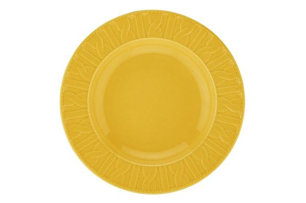 Prato Fundo em Cerâmica 22cm Amarelo  - Casanova
