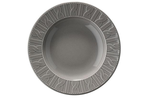 Prato Fundo em Cerâmica 22cm Cinza  - Casanova
