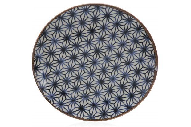 Prato Raso em Cerâmica Asanoha Colors 26cm Azul - Casa Etna