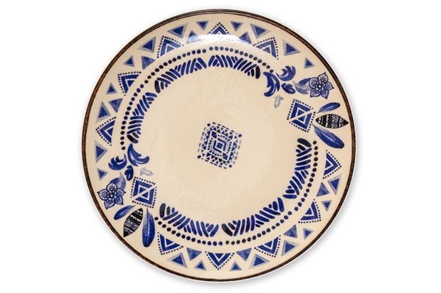 Prato Raso em Cerâmica Navajo 27cm Azul - Casa Etna