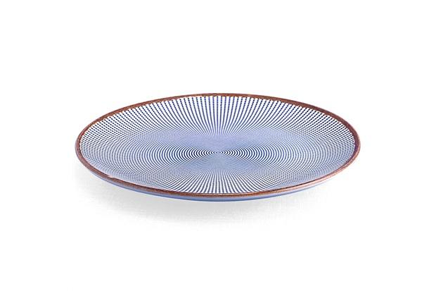 Prato Raso em Cerâmica Target 27cm Azul - Casa Etna