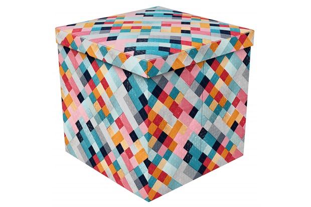 Puff Baú Desmontável em Mdf Geométrico 40x40cm Colorido - Puff Prime