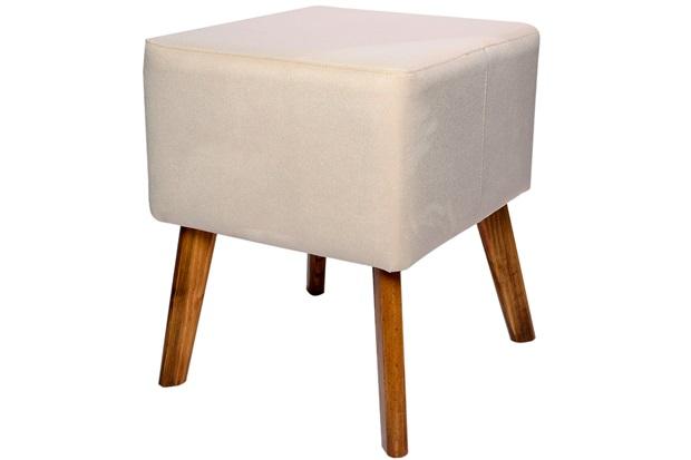 Puff com Pés de Madeira Quadrado 37x45cm Marfim - Decorglass