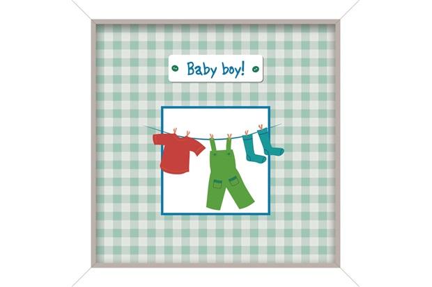Quadro de Madeira Baby Boy 24x24cm - Euroquadros