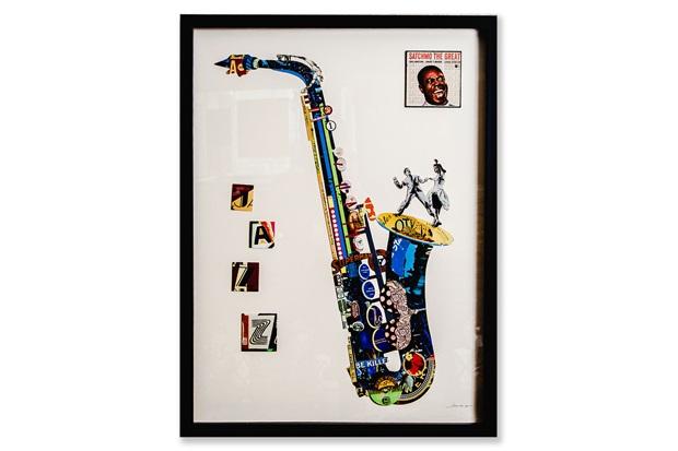 Quadro Decorativo Colagem Sax 81x61cm Colorido - Casa Etna