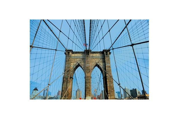 Quadro Decorativo em Vidro Color City Ponte do Brooklyn 60x40cm - E2G Design