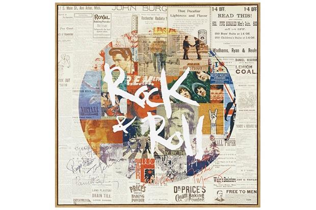 Quadro em Canvas Colagem Rock And Roll 40cm - Casa Etna