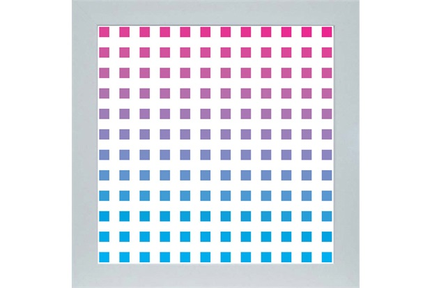 Quadro em Madeira com Vidro Abstrato Quadrados 33x33cm Azul E Rosa - Kapos