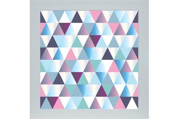 Quadro em Madeira com Vidro Abstrato Triângulos 33x33cm Azul E Roxo - Kapos