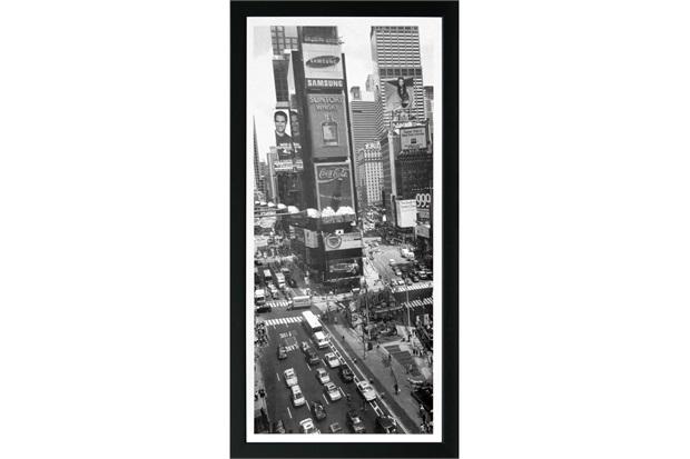Quadro em Madeira com Vidro Cidades Times Square 27x54cm - Kapos