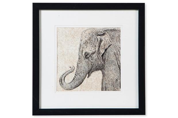 Quadro em Madeira Gravura Elefante Nellie 30cm Preto E Bege - Casa Etna