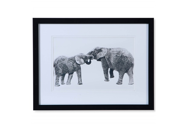 Quadro em Madeira Gravura Mãe Elefante 30cm Preto E Branco - Casa Etna