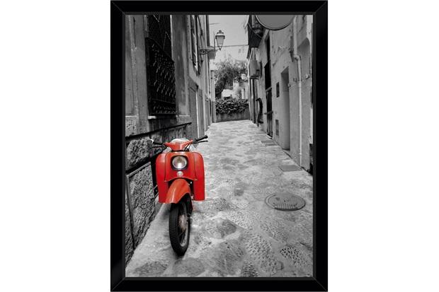Quadro Itália Moto Vermelha 29x39cm - Euroquadros