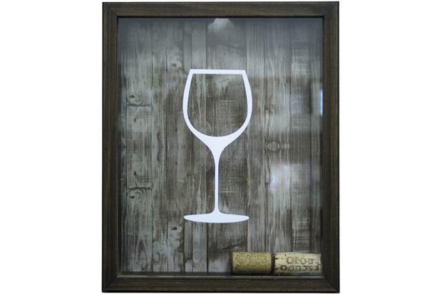 Quadro Porta Rolha em Madeira Taça de Vinho 22x27cm Imbuia - Kapos