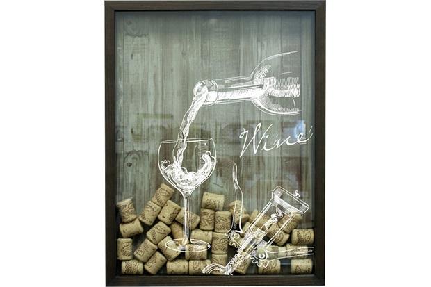 Quadro Retangular Porta Rolhas Madeira Pinnus Vinho 42x32cm - Kapos