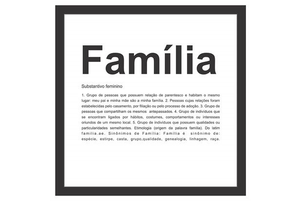 Quadro sem Vidro Família 27x27cm Preto - Kapos