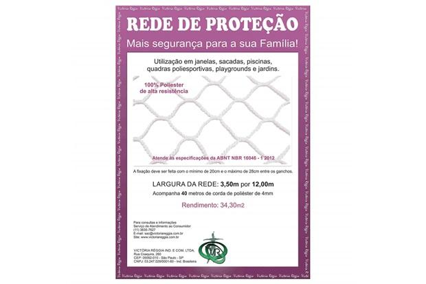 Rede de Proteção em Poliéster Protec 350cm com 12 Metros Branca - Protej