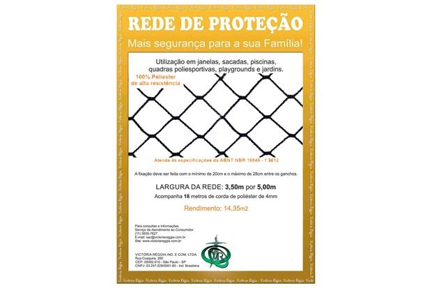 Rede de Proteção em Poliéster Protec 350cm com 5 Metros Preta - Protej