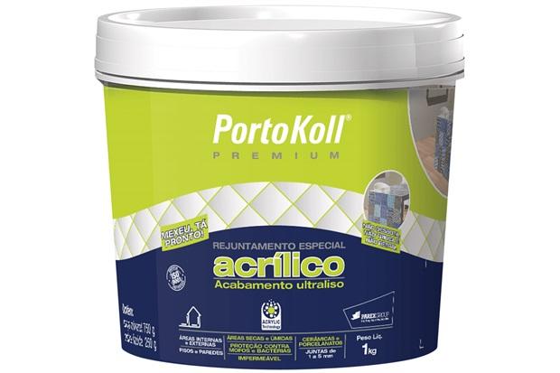 Rejunte Acrílico Premium Cinza Claro 1kg - Portokoll