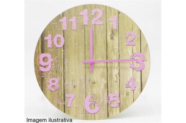 Relógio de Parede Grão Madeira Rosa 30cm  - Importado
