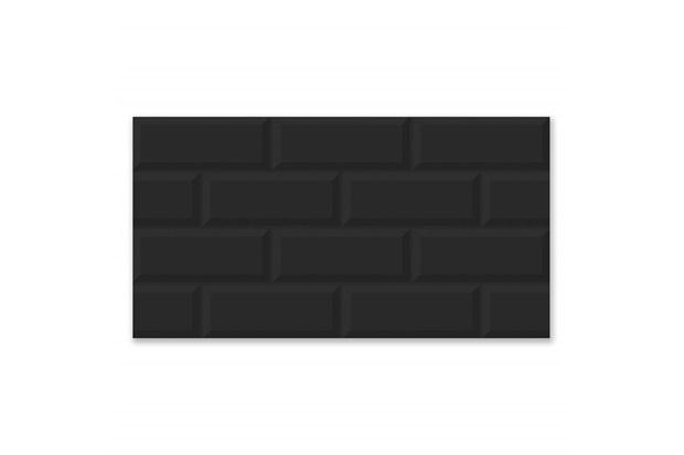 Revestimento Acetinado Borda Bold Kraft Black Mate Plus Preto 32x57cm - Idealle