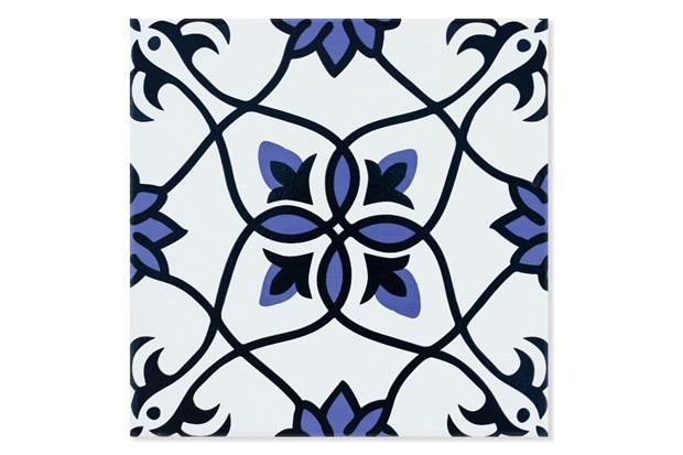Revestimento Brilhante Borda Bold Maia Azul, Branco E Preto 20x20cm - Pierini