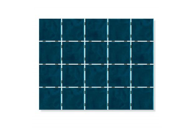 Revestimento Brilhante Borda Reta Onda Mesh Azul Petróleo 7,5x7,5cm - Eliane