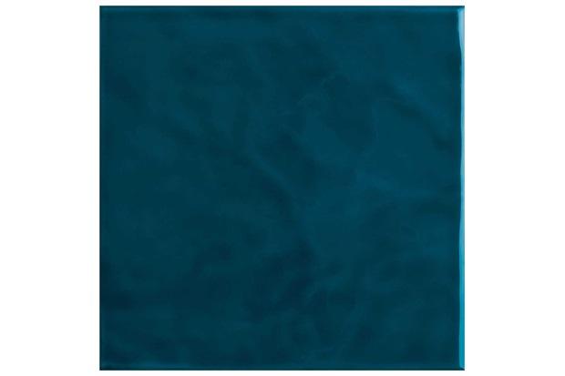 Revestimento Esmaltado Brilhante Borda Bold Azul Petróleo Onda 20x20cm - Eliane