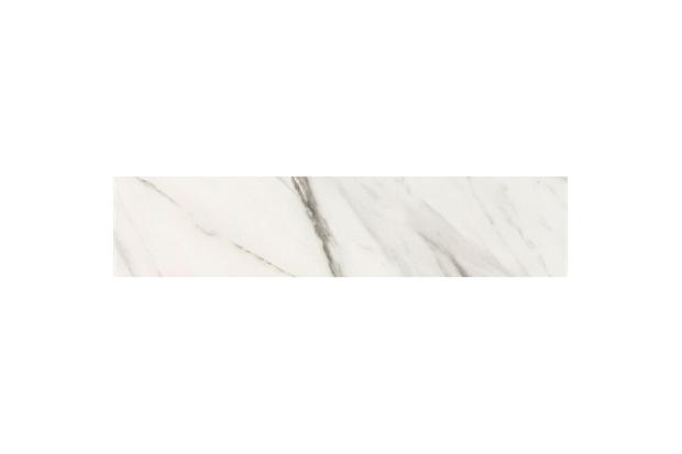Rodapé Carrara Natural Acetinado Marmorizado Branco 20x90cm - Portobello