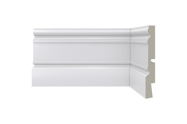Rodapé em Poliestireno Clássica 01 Branco 12,3x240cm - Santa Luzia