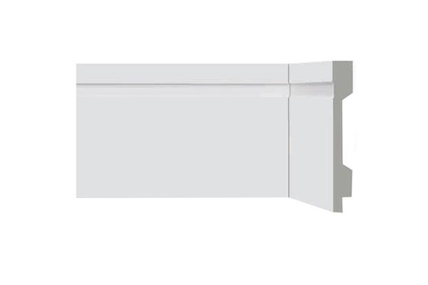 Rodapé em Poliestireno Renova Flex com Friso E Vinco 10x1,3x220cm Branco - Bellitas