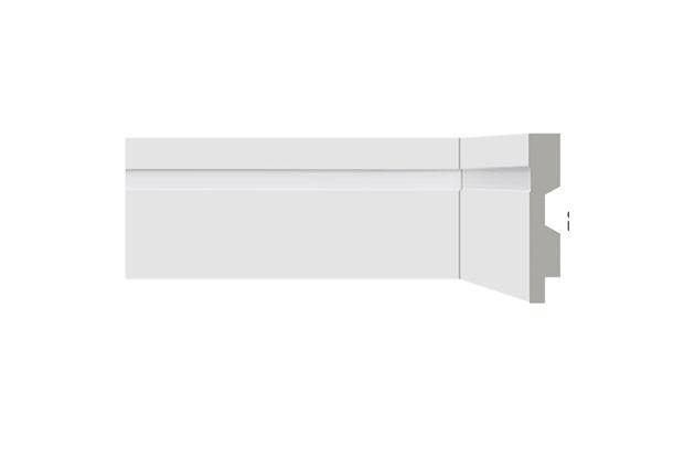 Rodapé em Poliestireno Renova Flex com Friso E Vinco 7x1,3x220cm Branco - Bellitas