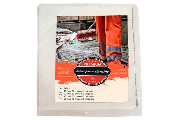 Saco para Entulho Premium 50x80cm com 5 Peças Branco - Pilar