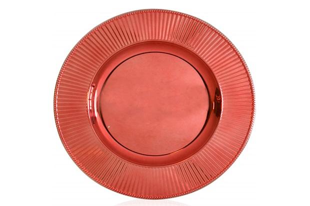 Sousplat em Plástico Plisse 33cm Metal - Casa Etna