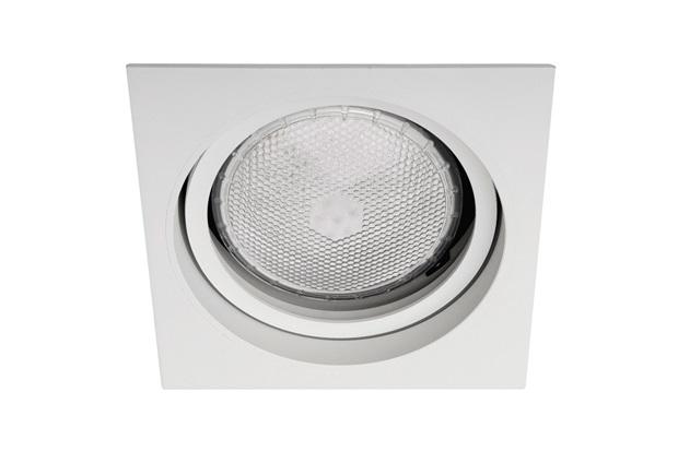 Spot de Embutir Quadrado Basculante Microgranulado 14,5x14,5cm Branco - Bronzearte